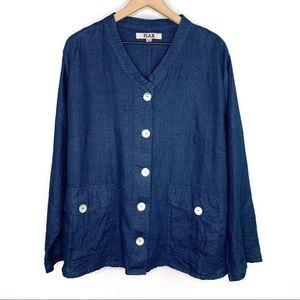 Flax   Blue Linen Button Down Shell Buttons sz 1G